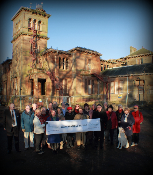 Photograph of Friends of Seafield House grouped in front of the house.