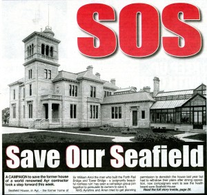 Press cutting from the front page of the Ayr Advertiser Headlined