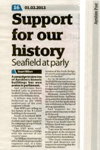 newspaper report of the debate in the Scottish Parliament and the support for Friends of Seafield House