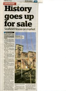 image of article from the Ayrshire Post showing a photograph of the derelict Seafield House.