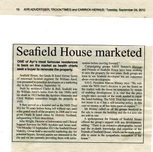 Newspaper article on the marketing campaign for Seafield House