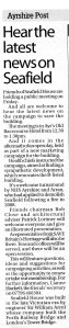 Newspaper article about the public meeting being held on 11 October 2013 in Ayr