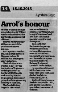 image of a newspaper article on the induction of Sir William Arrol
