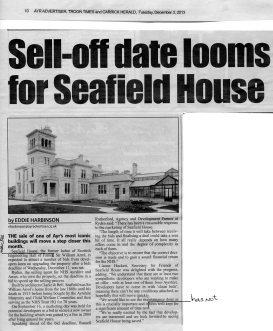 Newspaper Article entitled Sell-off date looms for Seafield House