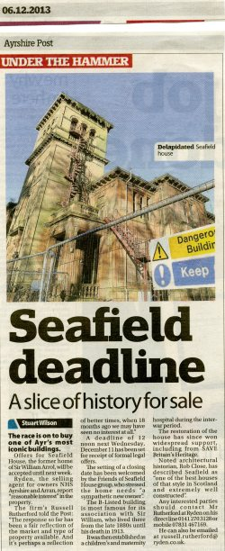 Newspaper article entitled Seafield Deadline - A slice of History for Sale
