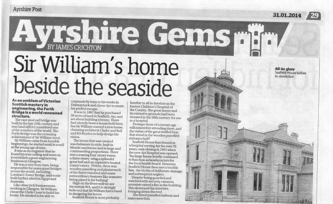 newspaper article on Seafield House