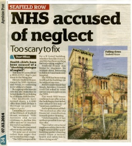 Newspaper article about NHS neglect of Seafield House