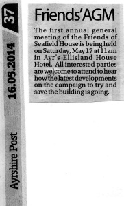 Newspaper article about FoSH first AGM