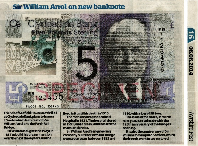 Article in the Ayrshire Post about the launch of the new banknote