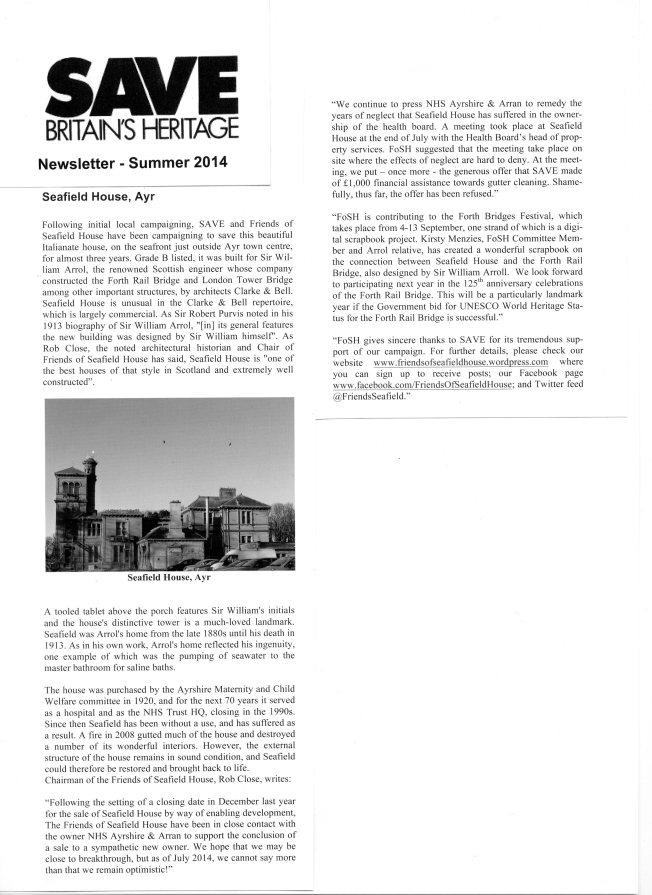 image of the article on Seafield House from the newsletter