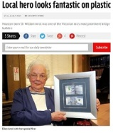screengrab of online newspaper article with photo of Ellen Arrol with the framed note