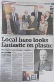 Image of newspaper article entitled Local Hero looks fantastic on plastic.