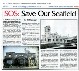 Press cutting from the Ayr Advertiser of article by Oli Michelson promoting the Public Meeting being held in Ayr on 1 December 2012 to promote the Friends of Seafield House campaign.