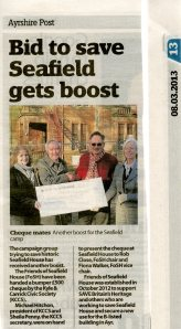 newspaper cutting about the KCCS handing over a cheque to FoSH