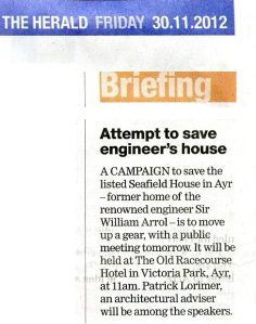 newspaper cutting about the public meeting held by FoSH to save Seafield House.