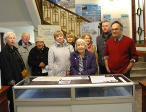 Photograph of Friends of Seafiled House and supporters at the Sir William Arrol Exhibition in the Foyer of the Carnegie Libray in Ayr