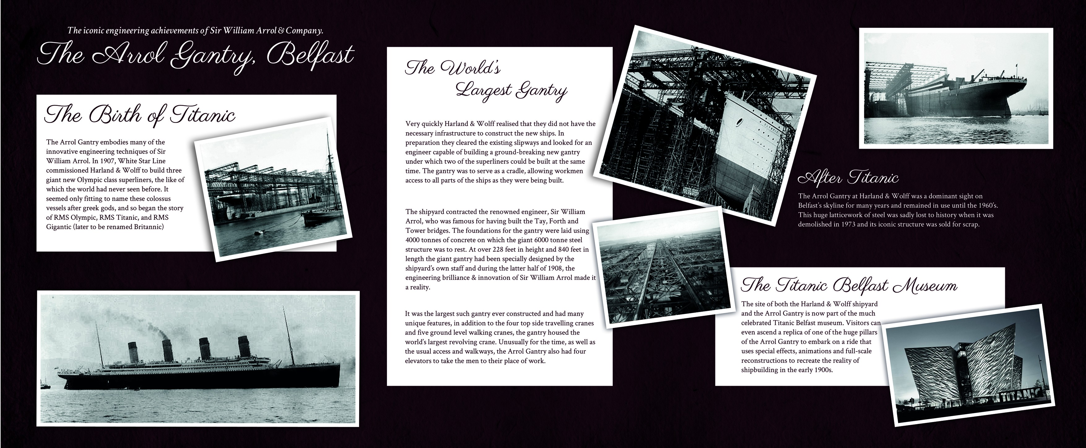 Image of an exhibition board about the Arrol Gantry in Belfast
