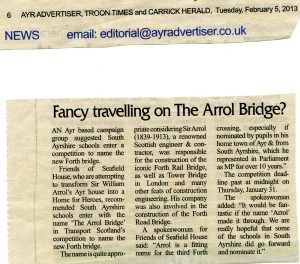 Newspaper article on FoSH suggestion that new bridge crossing the Forth be called the Arrol Bridge