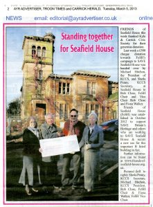 Newspaper article about KCCS donation to FoSH
