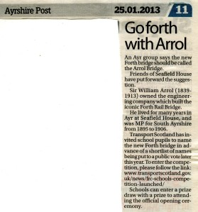 newspaper article on FoSH suggesting new Forth Bridge be called Arrol Bridge