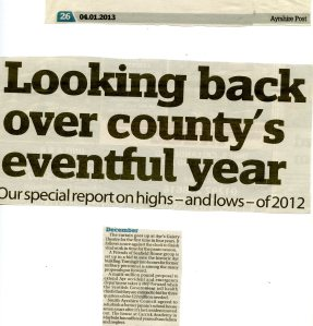 Newspaper article reviewing events in December 2012