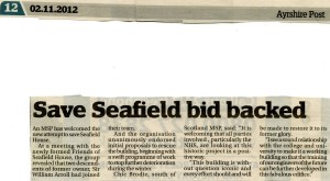 Newspaper article about Chic Brodie MSp backing FoSH campaign