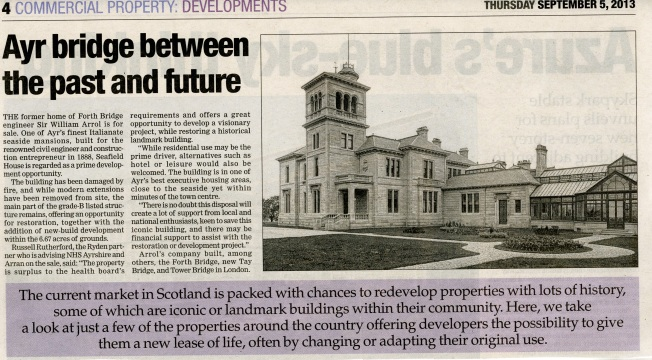image of newspaper article about the sale of Seafield House