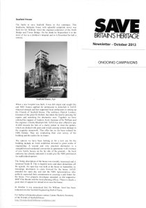 Article from the SAVE Britain's Heritage October 2013 newsletter featuring an update on the Seafield House Campaign