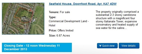 Image of the Seafield House page on the Ryden website