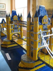 photograph of a meccano scale model of Tower Bridge