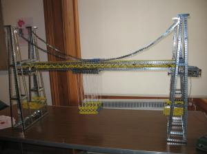 photograph of a meccano scale model of a transporter bridge