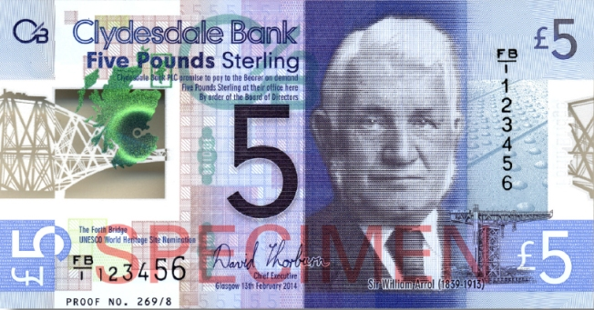 Image showing a specimen of the front of the £5 note