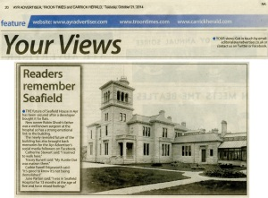 Newspaper article entitled Readers remember Seafield