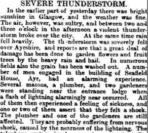 newspaper article entitled Severe Thunderstorm, describing events at Seafield House