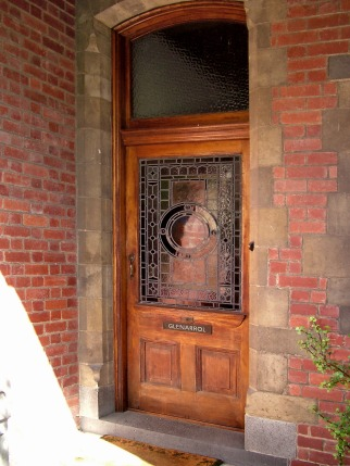 Photograph of the stained glass exterior door to Glenarrol