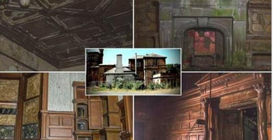 images showing damp ceilings, mouldy fireplace boarded up window and damp wooden panelled walls