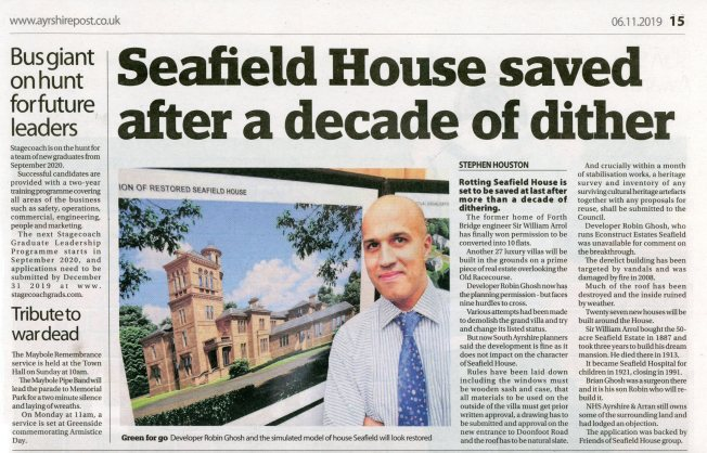 Ayrshire Post article on Seafield House 5 November 2019001