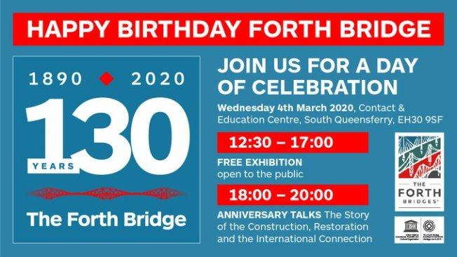 Invitation titled 'Happy Birthday Forth Bridge, 130 years' with details of times for the exhibition and talks.