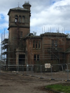 Photograph of the entrance to Seafield House with scaffolding erected to second floor