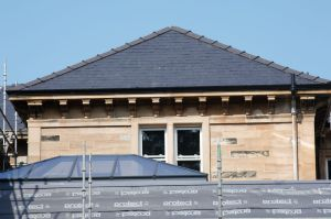 View showing completed roof, cleaned stonework, new windows and roof lantern