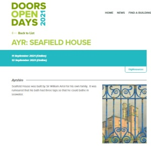 Showing Seafield House entry on the Doors Open  Days 2021 website.  With painting of Seafield House behind railings.